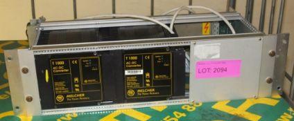2x Melcher T1000 AC-DC convertors in rack mount