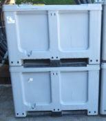 2x Plastic Storage Bin / pallets L1220 x W1020 x H830mm