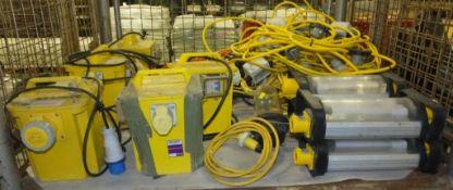 5x Carroll & Maynell 110v Transformers, 4 Light And cable 110v, Lewden 110v lamp, Festoon