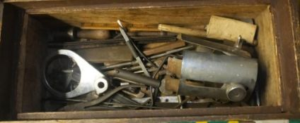 Vintage tools in wooden tool chest