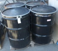 4x 45 gallon metal drums with lids