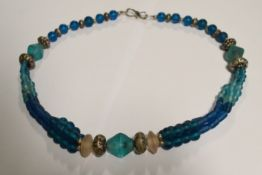 Blue/Silver 3 String Bead Necklace.