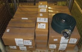 10x Hose Layflat 75mm Bore x 10m c/w 75mm Storz Couplings