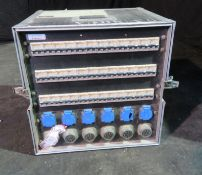 125amp 3 phase racked distro to 6 socapex and 6 schucko with phase changeover switch