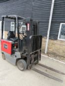 Nissan CEB0IL15U battery powered forklift with charger. 1476 hours, 1500KGs capacity