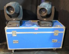 Pair of Clay Paky Alpha Spot HPE 1500 in twin flightcase