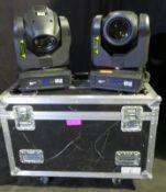 Pair of Martin Rush MH3 beam in twin flightcase