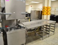 Winterhalter PT-L pass through dishwasher, 3 phase electric, comes with outlet table