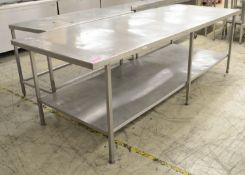Preparation table 2700mm W x 1000mm D x 870mm H
