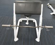 Cybex Preacher Curl Model: 161311, With EZ Curl Bar. Dimensions: 70x100x95cm (LxDxH)