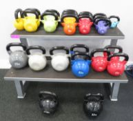25x Origin Kettle Bell Set With Rack. Weights Range From 2kg - 32kg.
