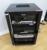 Denon Professional CD/Ipod/Bluetooth player & QSC GX5 Power amplifier & Trantec microphone system.