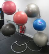 6x Pilates/Yoga Exercise Balls With 2 Stands - Various Sizes.