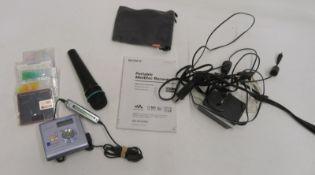 Sony MZ-NHF800 minidisc recorder with PRO575S vocal mic and 5x minidiscs