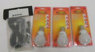 Bowmans 4m straight sync lead & 3x Omicron 49040 4 watt bayonette bulbs