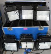 6x HQI 400w Floodlights in flight case. Includes safety bonds. Working condition.
