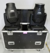 Pair of Showtec Phantom 300 Beams in flightcase. Includes hanging clamps and safety bonds.