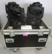 4x LED Moving head wash's in flightcase. Includes clamps but no power cables. Working Cond