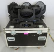 6x LED Moving head wash's in flightcase. Includes clamps but no power cables. Working Cond