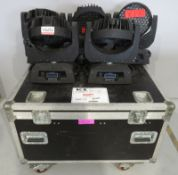 5x LED Moving head wash's in flightcase. No clamps or power cables included. As spares. Ho