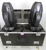 Pair of Varilite VL3000 Wash in flightcase. Includes hanging clamps and safety bonds. Work