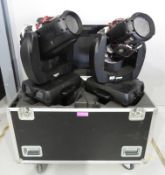 Pair of Varilite VL3000 Wash in flightcase. Includes hanging clamps and safety bonds. As s