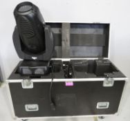 Varilite VL3000 Wash in flightcase. Includes hanging clamps and safety bonds. Powers up bu