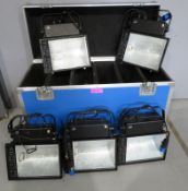 5x HQI 400w Floodlights in flight case. Includes safety bonds. 4 in working condition & 1