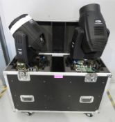 Pair of Showtec Phantom 300 Beams in flightcase. Includes hanging clamps. As spares. Hours
