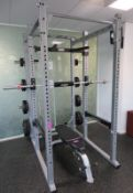 Hammer Strength AT-PR Rack Complete With 2x Barbells, Weight Plates And Cybex Bench.