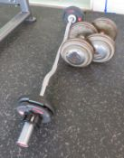 Ivanko 25kg Dumbbell Pair & 1x Origin Ez Curl Bar With 2x 2.5kg & 1x 1.25kg Weight Plates.