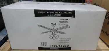 "Nassau 42"" Brass Ceiling Fan with 3 Lights."