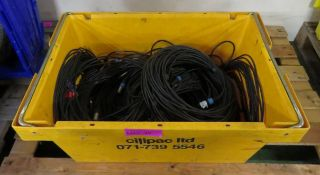 Yellow Crate Containing Assorted XLR Data Cables.