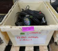 Cream Crate of Various Pin Spotlights and 15 Amp Cables.