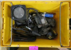 Yellow Crate of Assorted Floodlights and Spotlights.