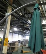 3m Cantilever Parasol in Green with Base -From Storage possibly used.