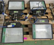 Italight 400W HMI Flood Lights x4 With Bulbs and Single Phase Cables.