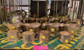 9x EPNS Gravy Boats, Pewter Jug, 4x EPNS Small Sugar Bowls