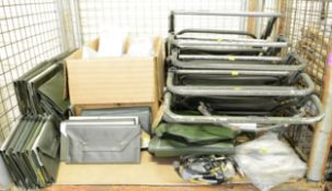 Army Surplus - Signs, Signal Cable, Green Folding Chair, Document Holder Vehicle, Pan Mess