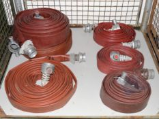 6x Various Flat Fire Hose 70mm End