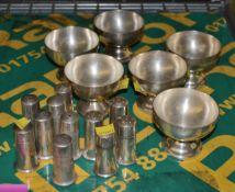 6x EPNS Salt Pots, 5x EPNS Pepper Pots, 6x EPNS Small Sugar Coupes Bowls