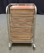 Various Brown Trays with Stainless Steel Trolley - L540 x W390 x H865mm