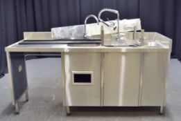 Stainless Steel Triple SInk Unit with Hose - L1900 x W650 x H1350mm