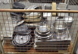 Assorted Pans, Stainless Steel Trays, Plastic Pots.