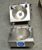 2x Stainless Steel Small Wash Basin with Single Taps (1 Damaged Base)