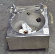 Stainless Steel Wash Basin with Single Taps - L340 x W345 x H270mm (H includes Taps)