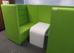 Padded Office Chill Out Pod/Booth And Table. Dimensions: 2600x1410x1520mm (LxDxH)
