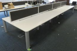 Bank Of Desks Seating 10. Dimensions: 6505x1800x745mm. (LxDxH)