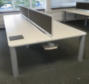 Bank Of Desks Seating 6. Dimensions: 3905x1800x745mm (LxDxH) Buyer To Dismantle And Remove