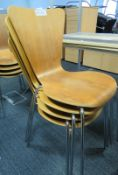 4x Wooden Canteen Chairs.